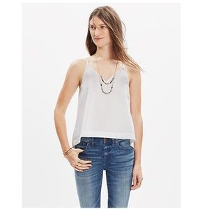 Madewell White Cotton Racerback Crop Cami - XS NWT